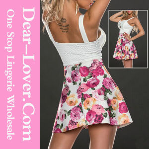 Sexy Sweet Blooming Flower Skater Dress in White pictures & photos
