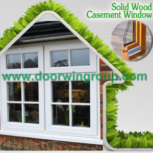 Standard UK Style Horizontal Bar in The Glass Aluminum Wood Window, Solid Oak Wood Window for UK House pictures & photos