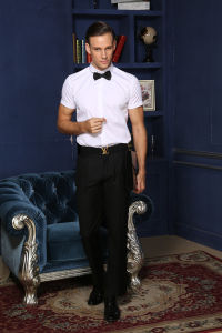 High Quantity Men′s Office Wear Short Sleeve Shirt with Factory Price --Md1a8847 pictures & photos