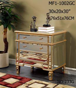 Big Storage 3 Drawer Golden Mirror Cabinet pictures & photos