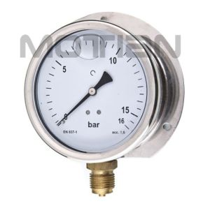 "4"" Glycerine Filled Stainless Steel Case with Rear Flange Prssure Gauge"