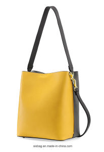 Fashion Bump Color PU Bucket Bag Two-Tone Ladies Bag pictures & photos