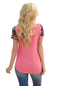 Leopard Print Spliced Women T-Shirt pictures & photos