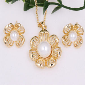 18k Gold Plated Pearl Flower Jewelry Set as Gift