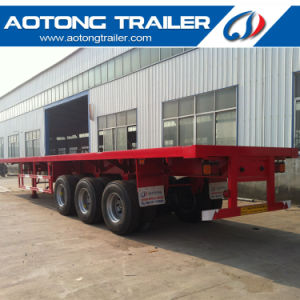 3 Axle 40FT Platform Container Semi Trailer for Sale pictures & photos