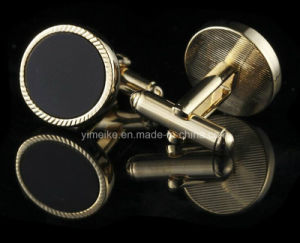 Classical Fancy Copper Black Agate Stone Jewelry Mens Cufflinks pictures & photos