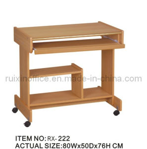 Classical Wooden Computer Table With Wheels (RX 222)
