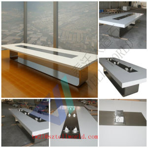 8 Person White High Gloss Modern Artificial Marble Top U Shaped Smart Board Meeting Table Conference Table with Electronic Sockets pictures & photos