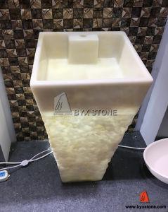 Beige Onyx Vessel Basin Pedestal Sink for Bathroom Decoration pictures & photos