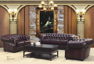 Top Selling Chesterfield Leather Sofa Set pictures & photos