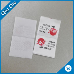 Woven Edge Polyester Half Folded Printed Clothing Label pictures & photos