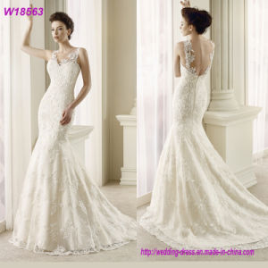 Wholesale Beaded Lace Bridal Wedding Dress/Gown with Fish Tail W18563 pictures & photos