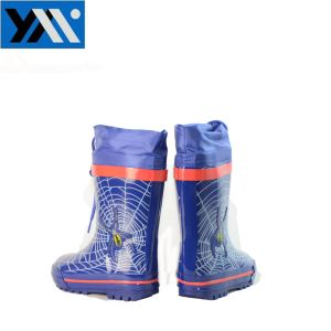 Blue Pattern Kids Rubber Rain Boots Manufacture with Spider pictures & photos