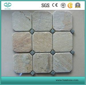 Cheap Grey/Black/Yellow/Chinese Rusty/Flagstone Meshed/Net Flagstone Slate Tile for Outdoor Flooring/Landscape pictures & photos
