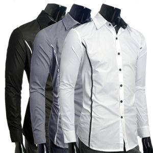 Casual Shirts Long-Sleeved Men Shirt Business Casual Slim Fit Dress Shirt pictures & photos