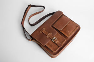Retro Brown PU Leather Shoulder Long Strip Bag for Man pictures & photos