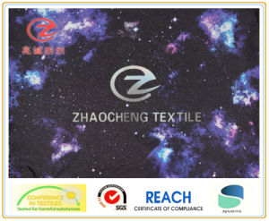 300t Poly Pongee Fabric with Nebula Printing Style and PU Coating for Garment Use (ZCGP017)