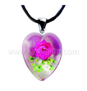 Crystal Pendant with Real Flower Inside