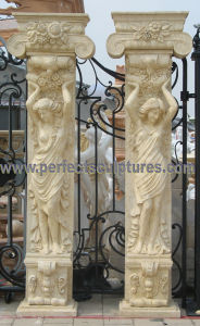 Porch Pillar with Stone Marble Granite Sandstone (QCM130) pictures & photos