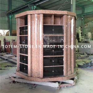 Round Columbariums with Maple Red and Shanxi Black Granite Mausoleum pictures & photos