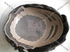 Human Hair Mono Base Men′s Toupee pictures & photos