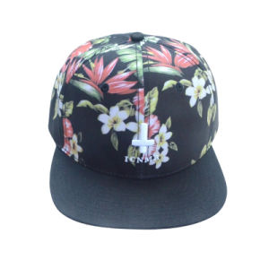 Custom Floral 6 Panels Polyester Snapback Cap pictures & photos