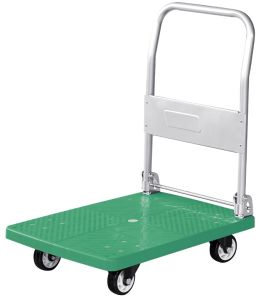 150kgs Plastic Platform Trolley Folding Hand Truck with PVC Wheels pictures & photos
