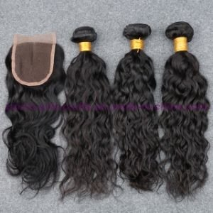 Indian Virgin Hair Water Wave Wefts with Closure Human Hair Weave 3 or 4 Bundles with Lace Frontal Closure Natural Ocean Wave Bundles with Closure
