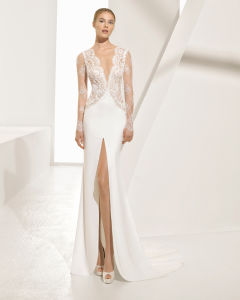a Beautiful Generous Chantilly Deep V Neckline and High Open Slit Long Sleeve Bridal Gown with Sensual Gems pictures & photos