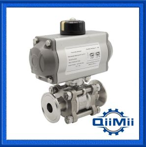 Sanitary Stainless Steel SUS316L Clamp Pneumatic Three Pieces Ball Valve pictures & photos