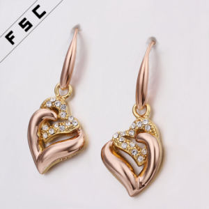 Fashion Jewelry Heart Shaped Rhinestone Diamond Dangle Earrings pictures & photos