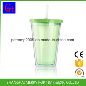 Wholesale BPA Free Ice Cream Mug, Double Wall Plastic Juice Tumbler with Straw (SG-N001) pictures & photos