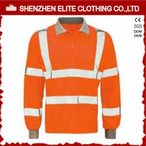 Hi Vis Reflective Work Wear Long Sleeve Safety Polo Shirt Orange (ELTSPSI-19) pictures & photos