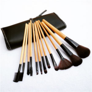 Professional 12PCS Face Makeup Brush Set with Black Leather Bag pictures & photos