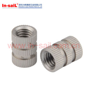 Through-Hole Brass Insert Round Nut / Knurled Nut for Injection Moulding pictures & photos