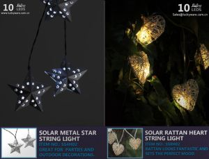 Solar Metal Star String Light with 10 LEDs pictures & photos