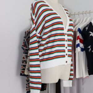 Ladies′ Colorful Striped Cardigan with Lose Version and Soft Handfeel in Low Percent Duty pictures & photos