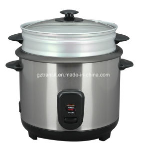 Stainless Steel Rice Cooker with Steamer & Glass Lid Kitchenware pictures & photos