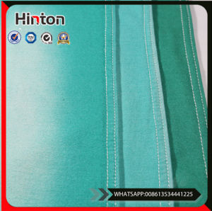 Good Stretch Green Color Knitted Cotton Spandex Denim Fabric pictures & photos