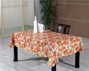 Nonwoven/Flannel/Fabric Backing PVC Printed Tablecloth LFGB Oko-Tex Wholesale China Factory pictures & photos