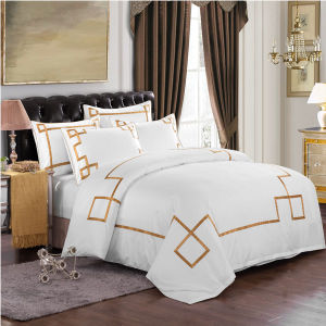 The Hotel Collection Egyptian Cotton White Embroidery Gold Bedding Set pictures & photos