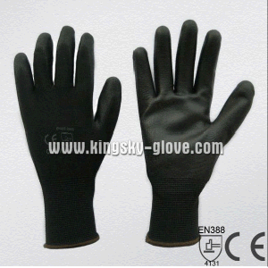13G Polyester Liner Black PU Coated Work Glove (5537. BL) pictures & photos