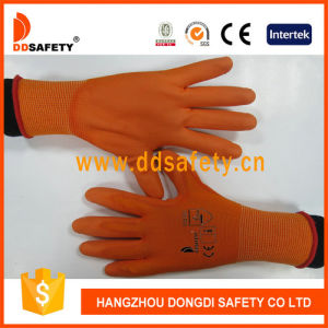 Ddsafety 2017 Orange PU Coated Working Gloves pictures & photos
