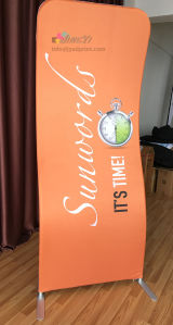 S shape tention stretch fabric graphic aluminum exhibition display banner