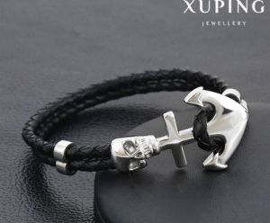 Bracelet-31 Fashion Cool Stainless Steel Jewelry Black Leather Bracelet pictures & photos