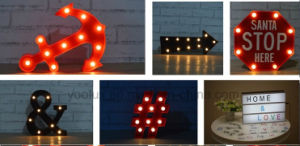 Plastic Battery Operated Star LED Symble Vintage Marquee LED Lights pictures & photos