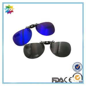 Clip on Glasses Clip on Sunglasses Blue Mirrored Lenses
