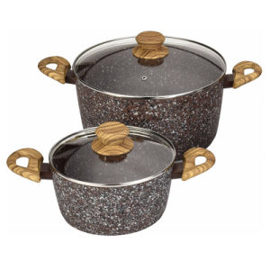 Stone-Look Forged Aluminum Pots and Pans with Wood-Look Handles pictures & photos