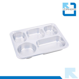 304 Stainless Steel 5 Compartment Food Containers Lunchbox with Lid pictures & photos