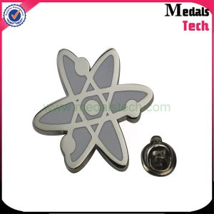 Free Sample Custom Silver Plated Letter Shape Metal Lapel Pins with Butterfly Clips pictures & photos